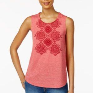 Style & Co Embroidered Beaded Tank Top